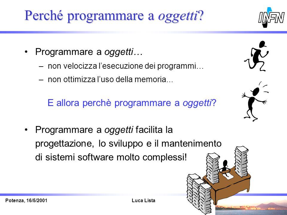 Luca ListaPotenza, 16/5/2001 Perché programmare a oggetti? Programmare a oggetti… –non velocizza lesecuzione dei programmi… –non ottimizza luso della