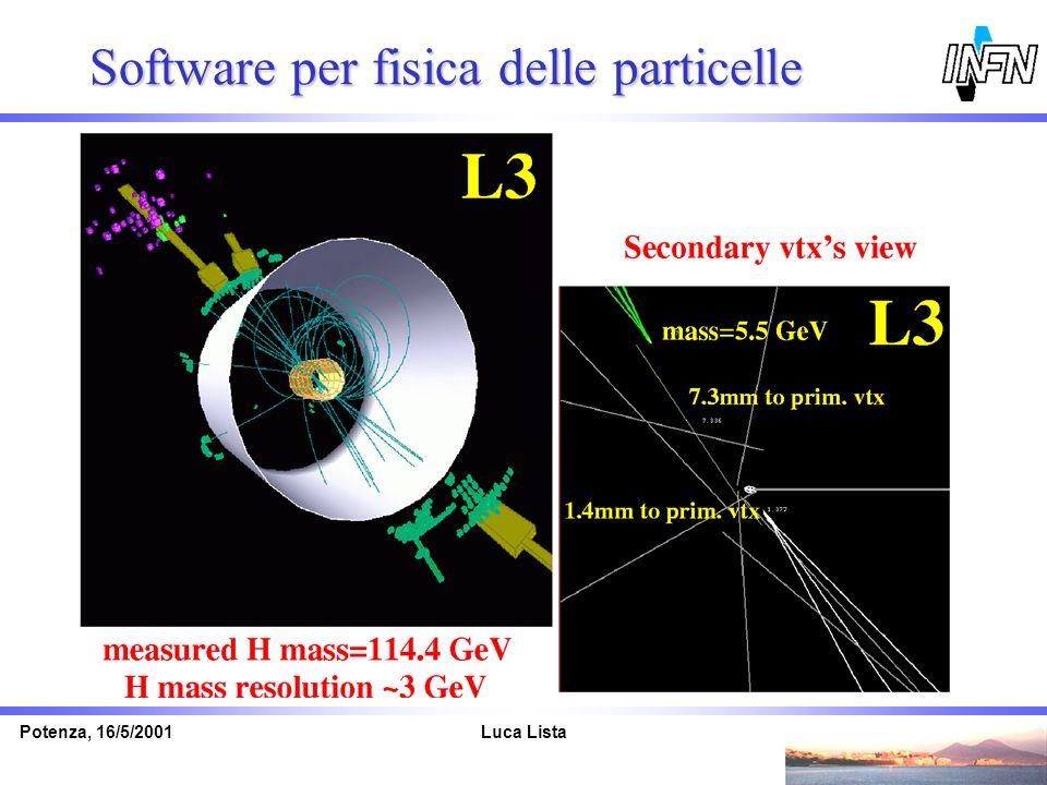 Luca ListaPotenza, 16/5/2001 Software per fisica delle particelle