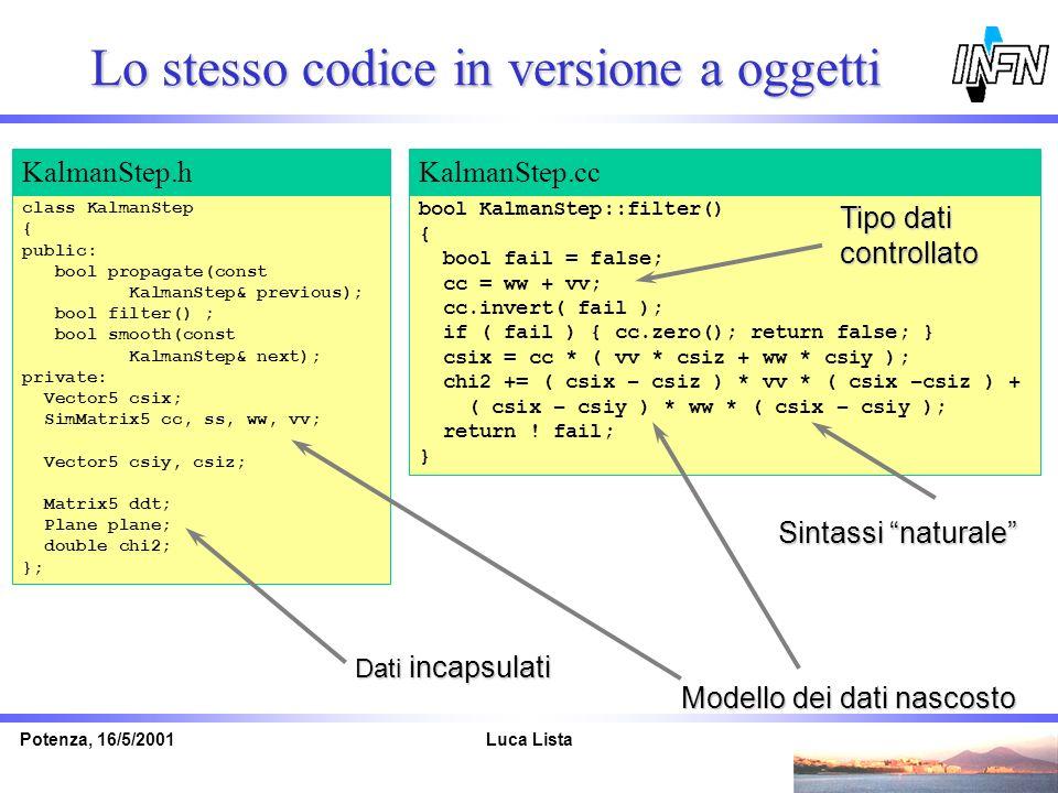 Luca ListaPotenza, 16/5/2001 class KalmanStep { public: bool propagate(const KalmanStep& previous); bool filter() ; bool smooth(const KalmanStep& next