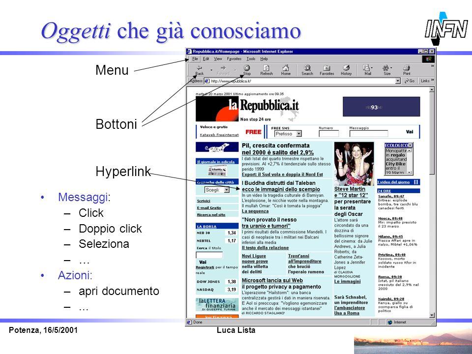 Luca ListaPotenza, 16/5/2001 Oggetti che già conosciamo Bottoni Menu Hyperlink Messaggi: –Click –Doppio click –Seleziona –… Azioni: –apri documento –.