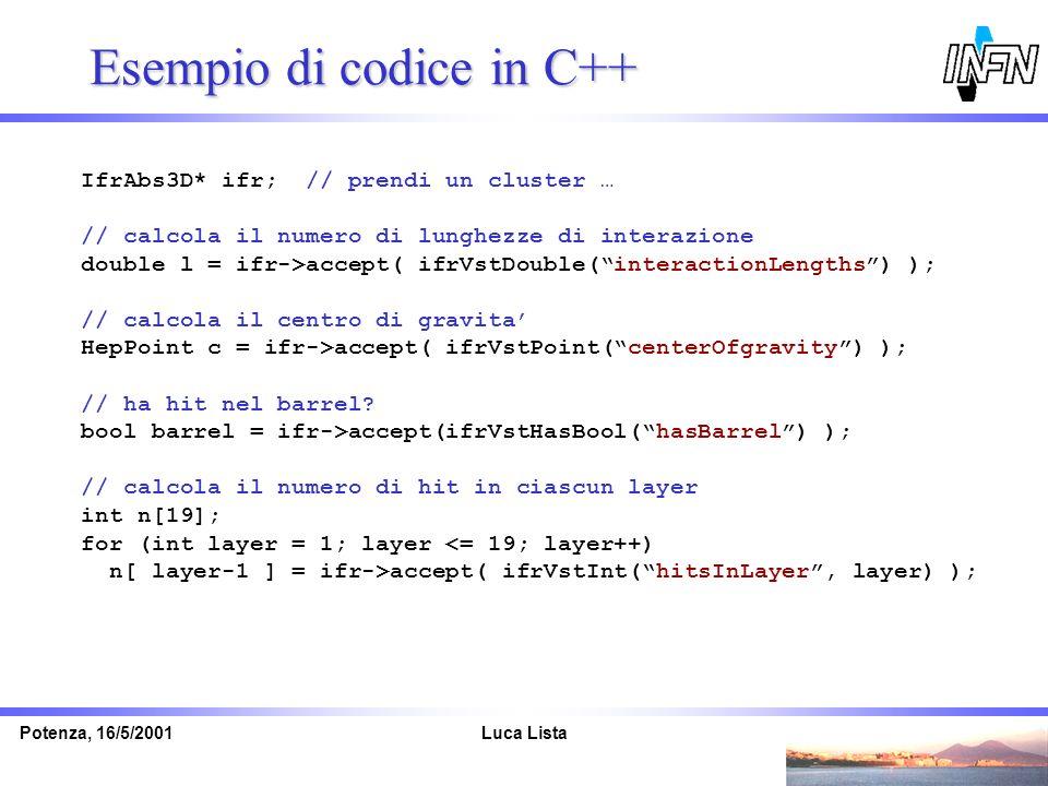 Luca ListaPotenza, 16/5/2001 Esempio di codice in C++ IfrAbs3D* ifr; // prendi un cluster … // calcola il numero di lunghezze di interazione double l