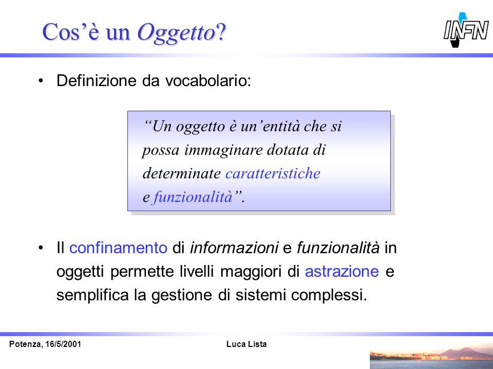 Luca ListaPotenza, 16/5/2001 Cosè un Oggetto? Definizione da vocabolario: Il confinamento di informazioni e funzionalità in oggetti permette livelli m