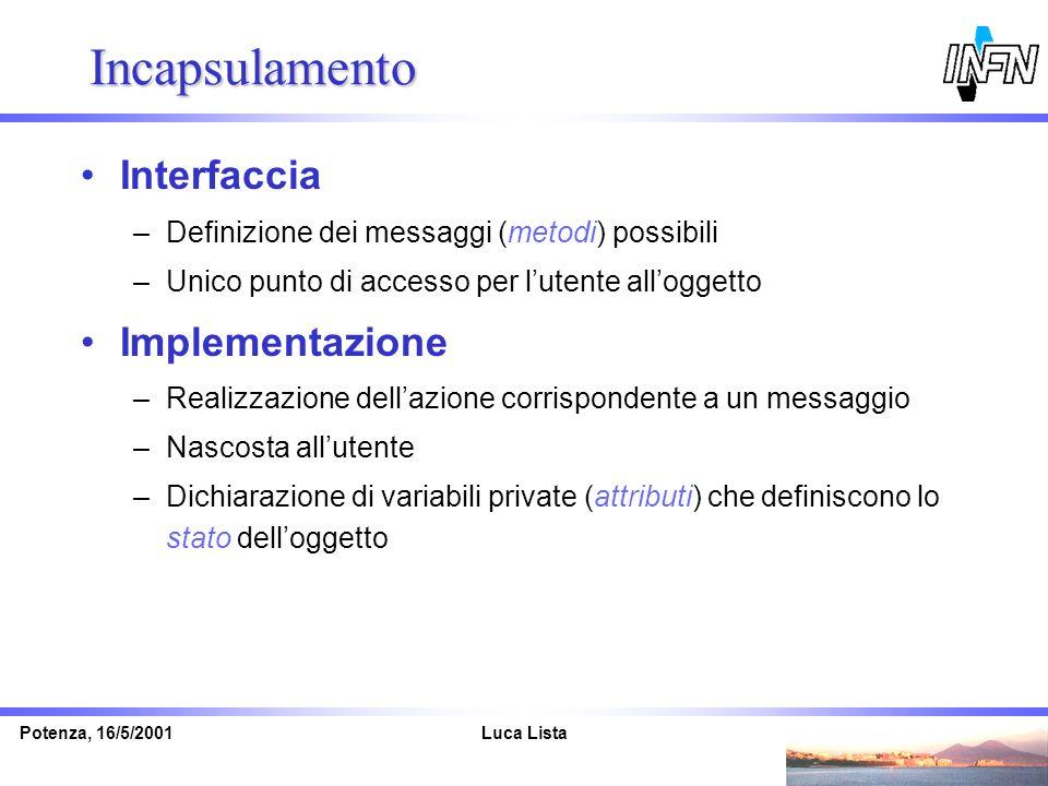 Luca ListaPotenza, 16/5/2001 Incapsulamento Interfaccia –Definizione dei messaggi (metodi) possibili –Unico punto di accesso per lutente alloggetto Im