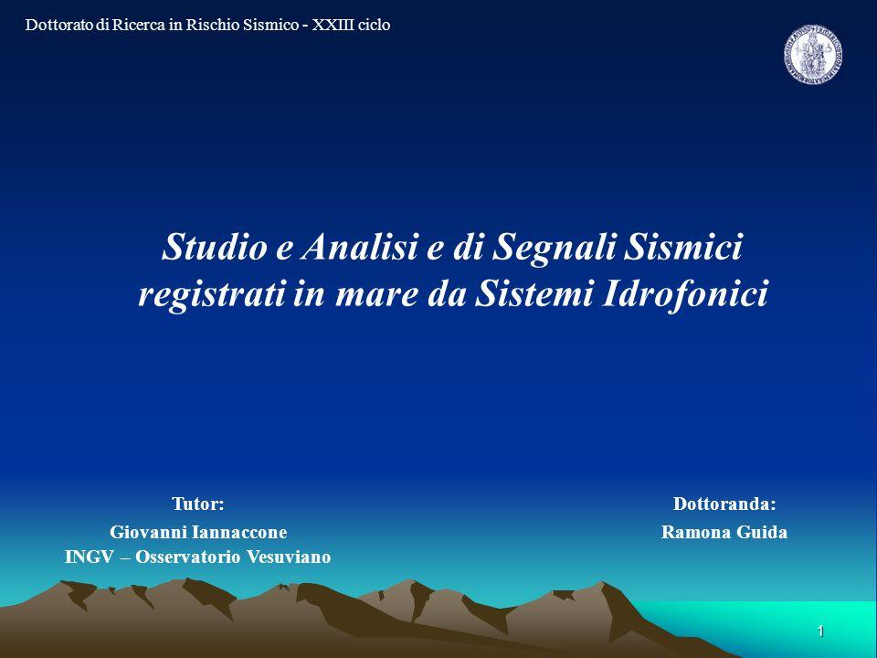 1 Dottoranda: Ramona Guida Tutor: Giovanni Iannaccone INGV – Osservatorio Vesuviano Dottorato di Ricerca in Rischio Sismico - XXIII ciclo Studio e Ana