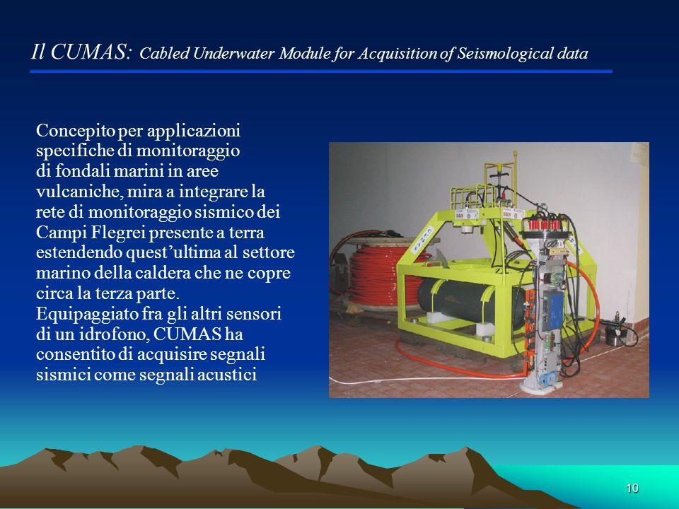 10 Il CUMAS: Cabled Underwater Module for Acquisition of Seismological data Concepito per applicazioni specifiche di monitoraggio di fondali marini in