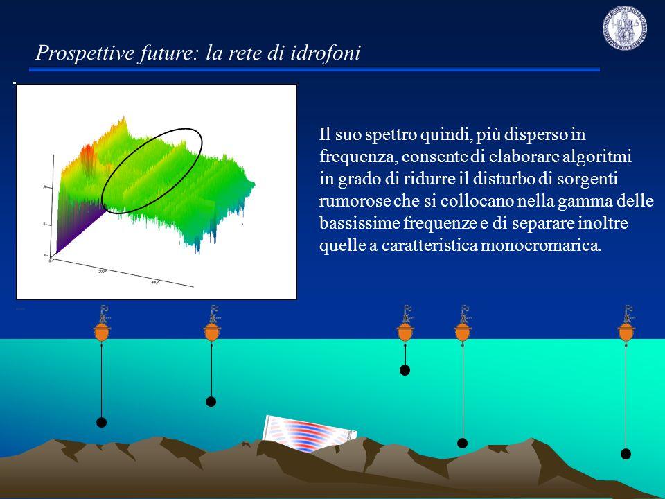 Dottorato di Ricerca in Rischio Sismico XXIII ciclo Prospettive future: la rete di idrofoni Il suo spettro quindi, più disperso in frequenza, consente