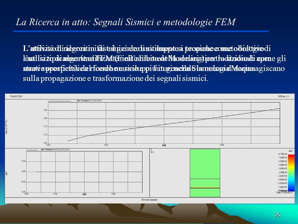 25 Lattività di ricerca in fase iniziale di sviluppo si propone come obiettivo lutilizzo di algoritmi FEM (Finite Element Modeling) per lo studio di c
