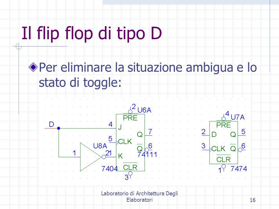 Laboratorio di Architettura Degli Elaboratori16 Il flip flop di tipo D Per eliminare la situazione ambigua e lo stato di toggle: