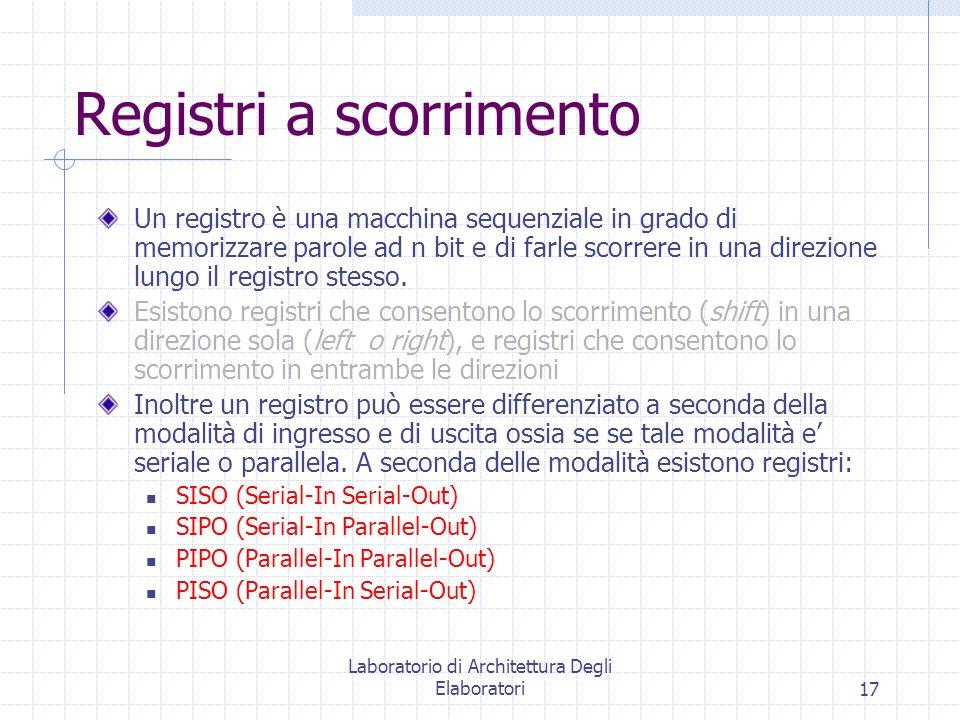 Laboratorio di Architettura Degli Elaboratori17 Registri a scorrimento Un registro è una macchina sequenziale in grado di memorizzare parole ad n bit