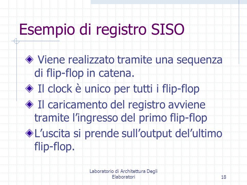 Laboratorio di Architettura Degli Elaboratori18 Esempio di registro SISO Viene realizzato tramite una sequenza di flip-flop in catena. Il clock è unic
