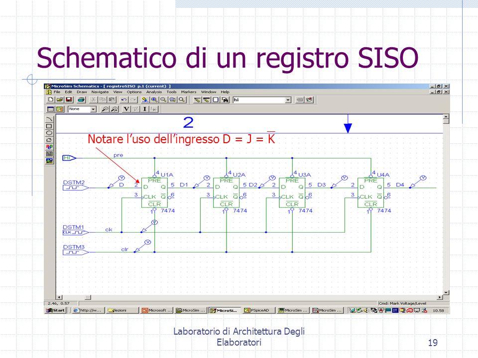 Laboratorio di Architettura Degli Elaboratori19 Schematico di un registro SISO Notare luso dellingresso D = J = K