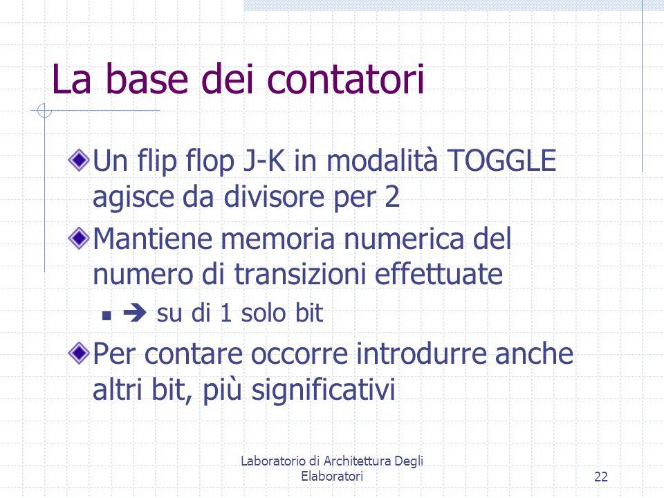 Laboratorio di Architettura Degli Elaboratori22 La base dei contatori Un flip flop J-K in modalità TOGGLE agisce da divisore per 2 Mantiene memoria nu