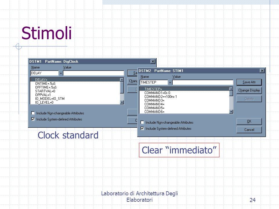 Laboratorio di Architettura Degli Elaboratori24 Stimoli Clock standard Clear immediato