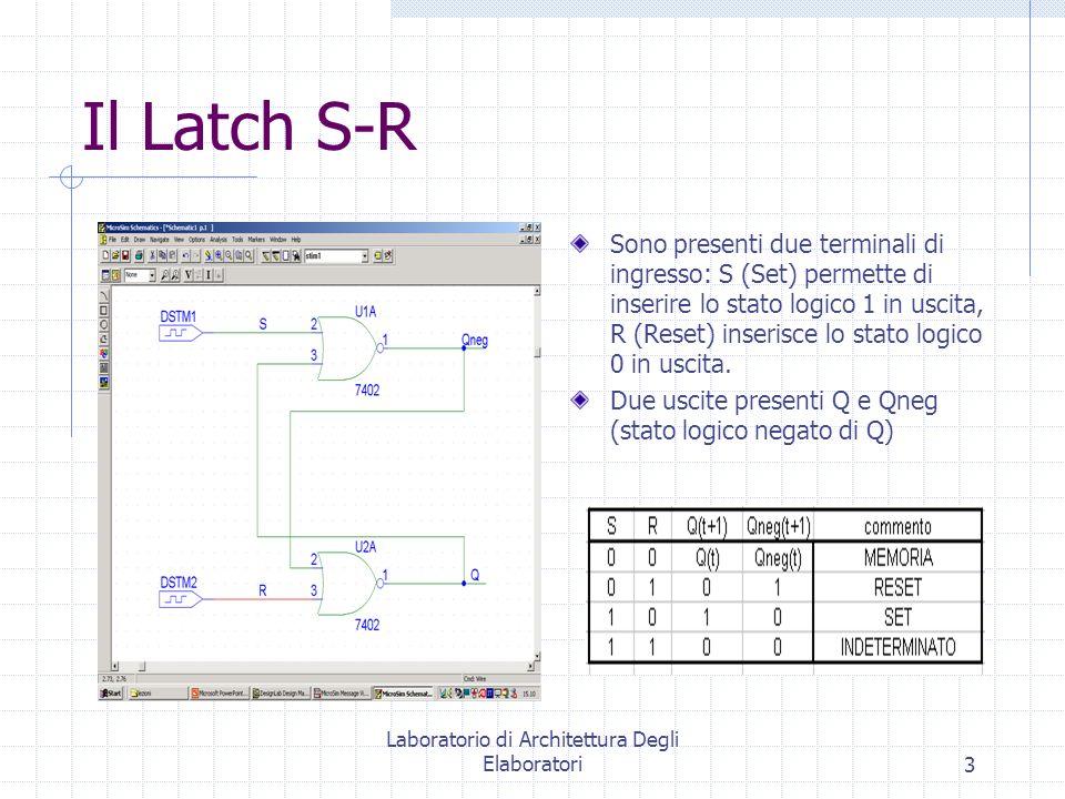 Laboratorio di Architettura Degli Elaboratori3 Il Latch S-R Sono presenti due terminali di ingresso: S (Set) permette di inserire lo stato logico 1 in