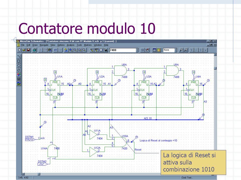 Laboratorio di Architettura Degli Elaboratori30 Contatore modulo 10 La logica di Reset si attiva sulla combinazione 1010
