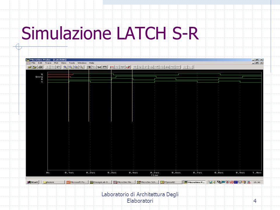 Laboratorio di Architettura Degli Elaboratori4 Simulazione LATCH S-R