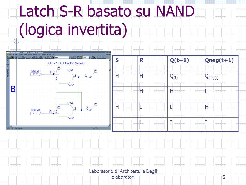 Laboratorio di Architettura Degli Elaboratori5 Latch S-R basato su NAND (logica invertita) SRQ(t+1)Qneg(t+1) HHQ (t) Q neg(t) LHHL HLLH LL??
