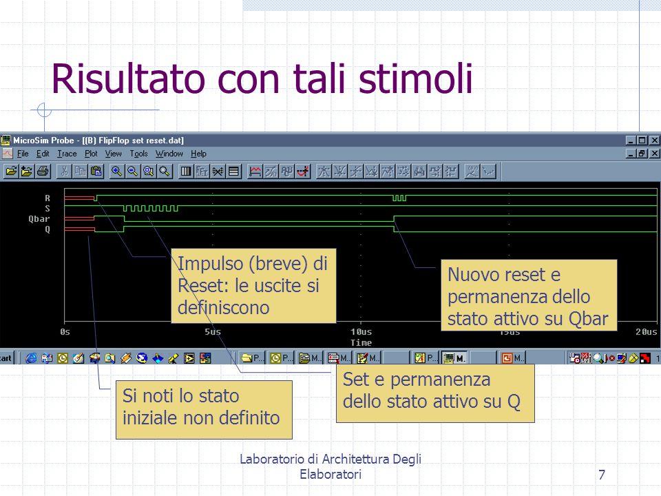 Laboratorio di Architettura Degli Elaboratori7 Risultato con tali stimoli Si noti lo stato iniziale non definito Impulso (breve) di Reset: le uscite s
