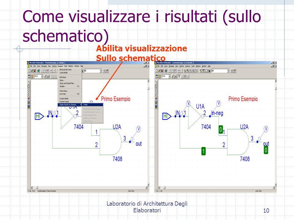 Laboratorio di Architettura Degli Elaboratori10 Come visualizzare i risultati (sullo schematico) Abilita visualizzazione Sullo schematico