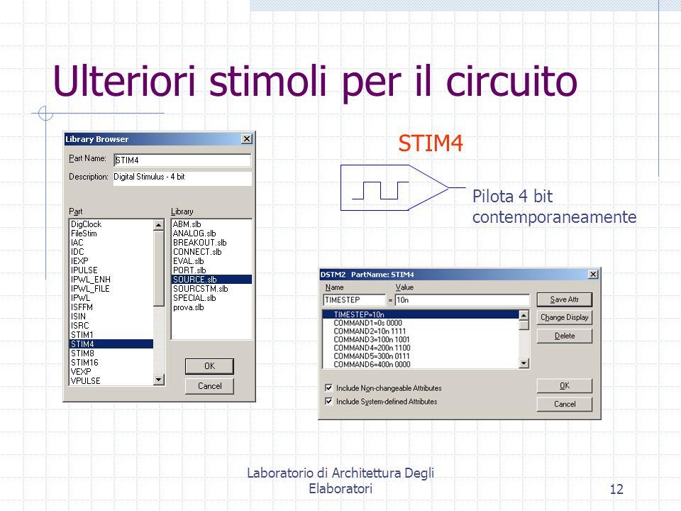 Laboratorio di Architettura Degli Elaboratori12 Ulteriori stimoli per il circuito STIM4 Pilota 4 bit contemporaneamente