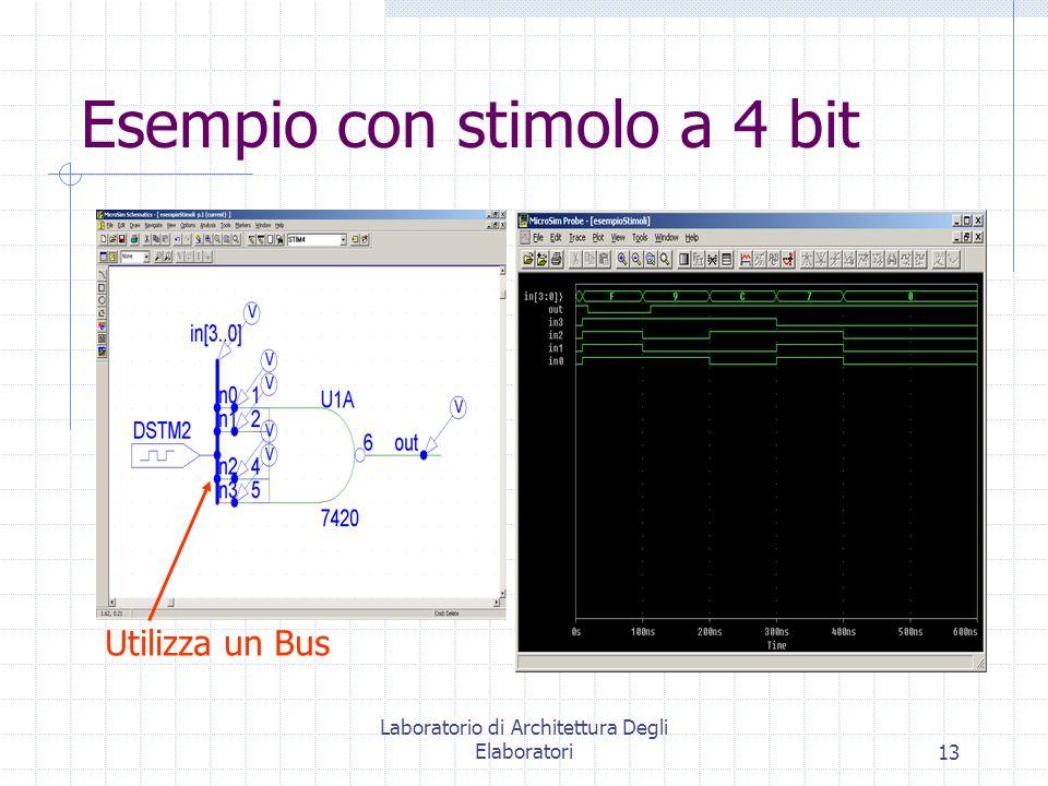 Laboratorio di Architettura Degli Elaboratori13 Esempio con stimolo a 4 bit Utilizza un Bus