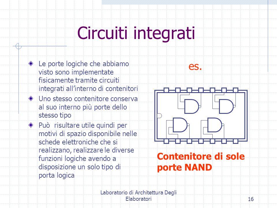 Laboratorio di Architettura Degli Elaboratori16 Circuiti integrati Le porte logiche che abbiamo visto sono implementate fisicamente tramite circuiti i