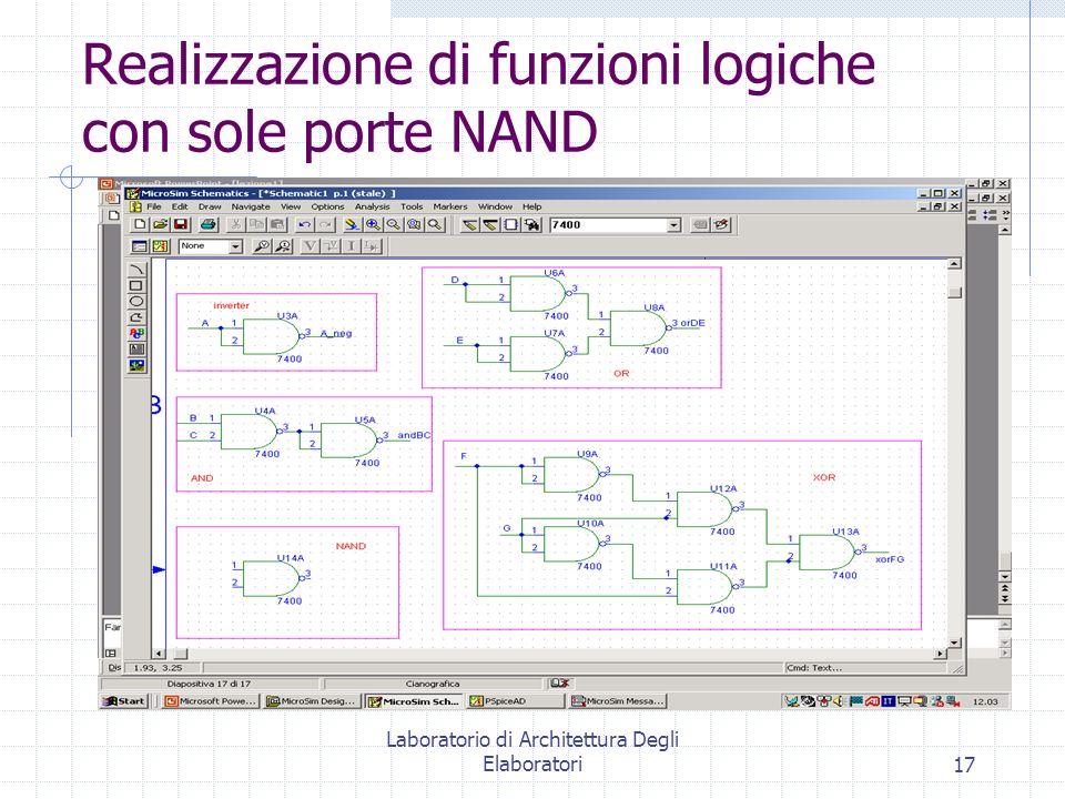 Laboratorio di Architettura Degli Elaboratori17 Realizzazione di funzioni logiche con sole porte NAND