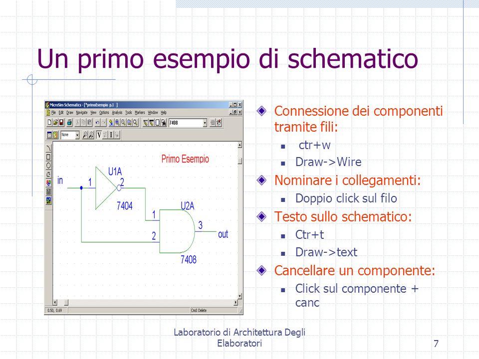 Laboratorio di Architettura Degli Elaboratori7 Un primo esempio di schematico Connessione dei componenti tramite fili: ctr+w Draw->Wire Nominare i col