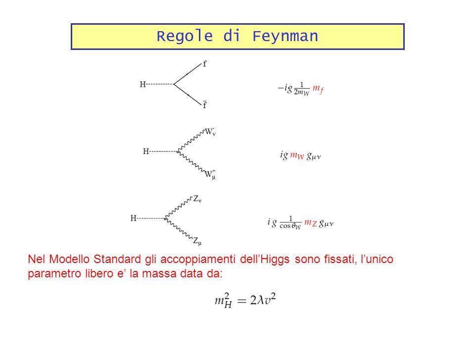 Regole di Feynman Nel Modello Standard gli accoppiamenti dellHiggs sono fissati, lunico parametro libero e la massa data da: