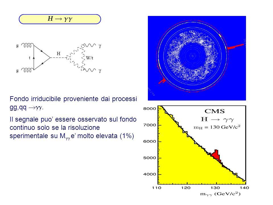 Fondo irriducibile proveniente dai processi gg,qq. Il segnale puo essere osservato sul fondo continuo solo se la risoluzione sperimentale su M e molto