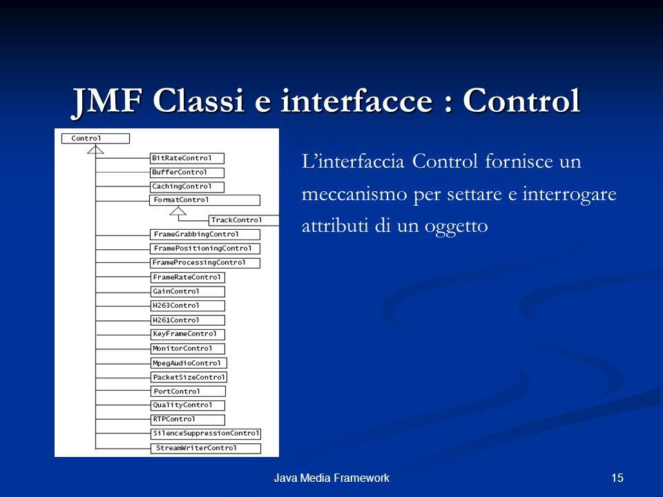 15Java Media Framework JMF Classi e interfacce : Control Linterfaccia Control fornisce un meccanismo per settare e interrogare attributi di un oggetto