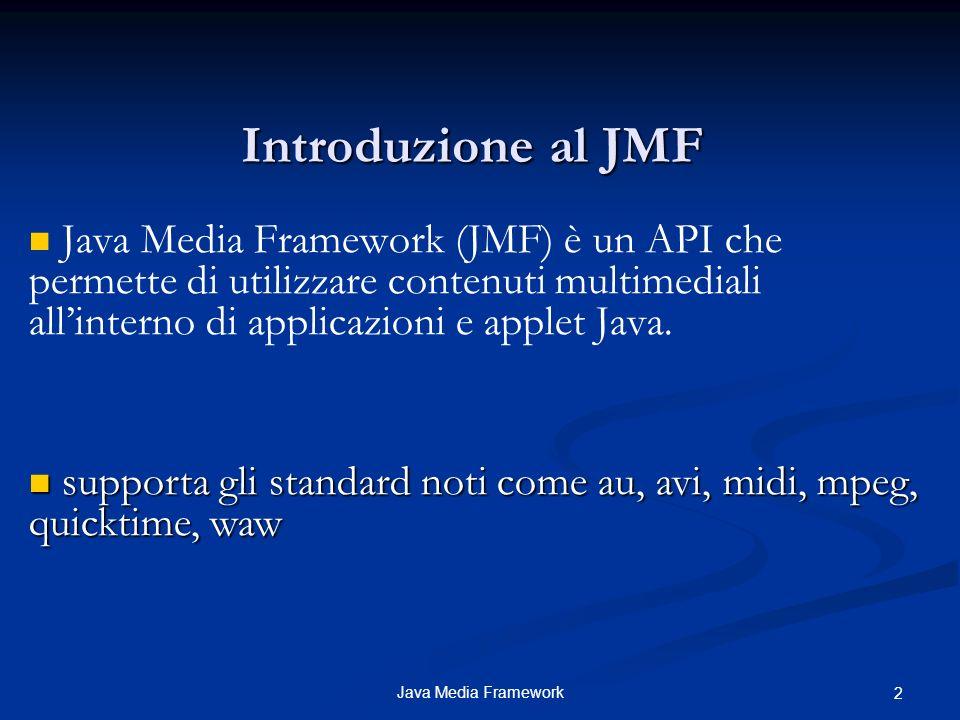 Java Media Framework 3 Principali package JMF I principali package che compongono le API JMF sono : javax.media : contiene le principali classi di JMF javax.media.control : permette di leggere e modificare parametri quali : bit rate, frame rate, lunghezza del buffer di ricezione, ecc..