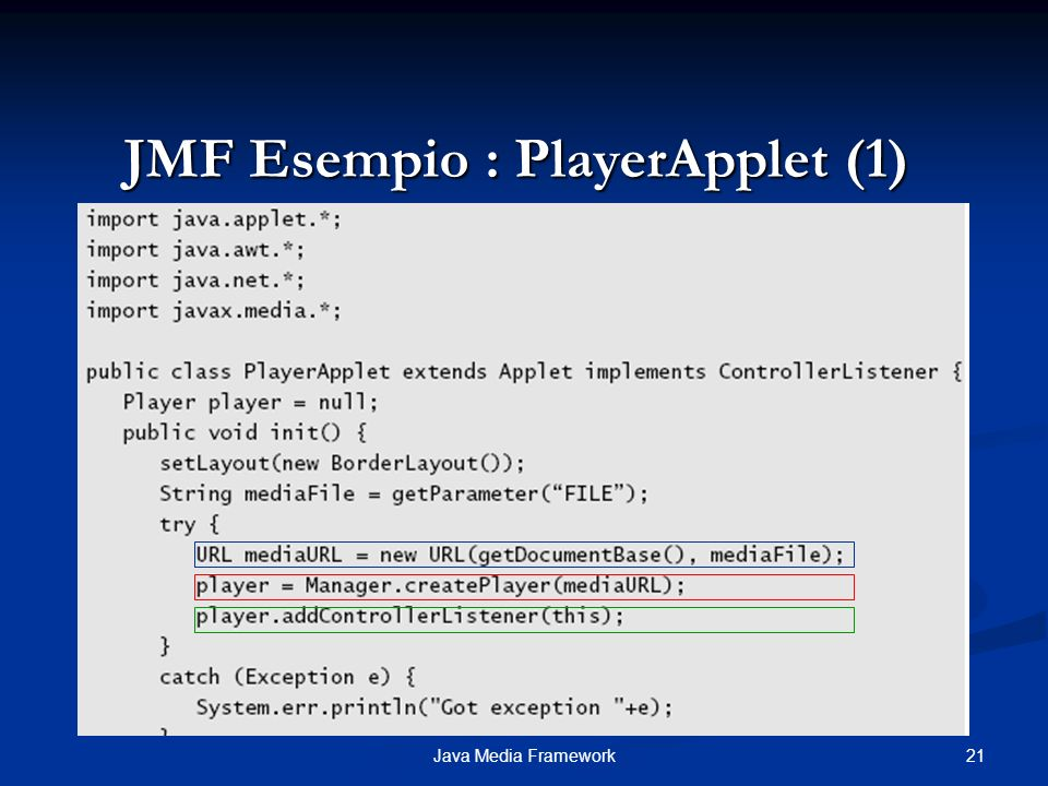 21Java Media Framework JMF Esempio : PlayerApplet (1)