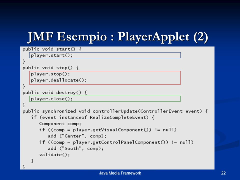 22Java Media Framework JMF Esempio : PlayerApplet (2)