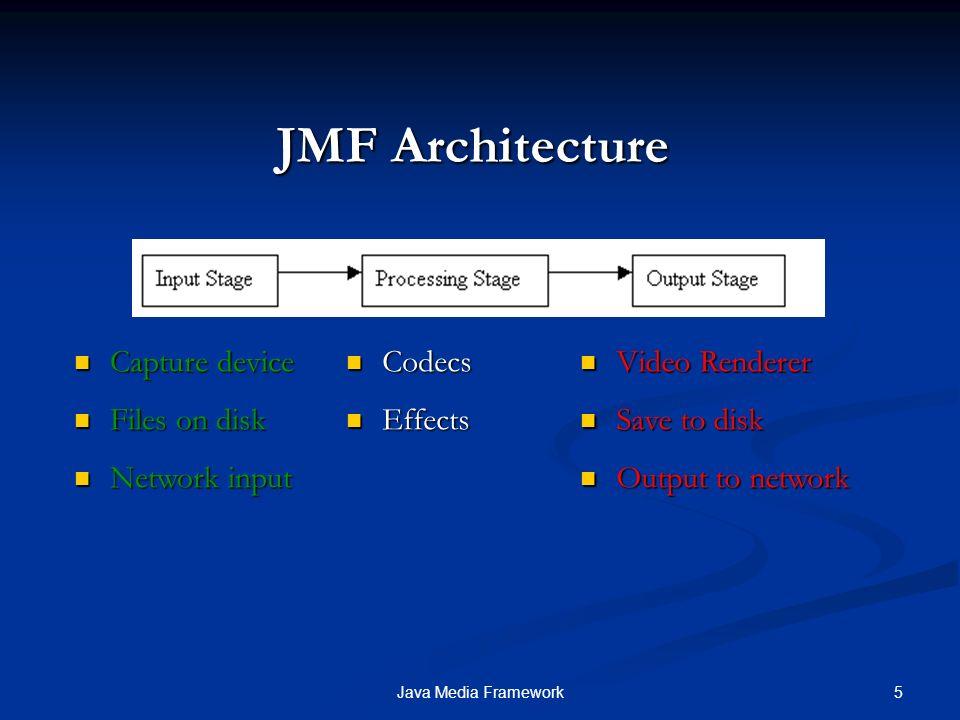 16Java Media Framework JMF Esempio : Creazione DataSource Per gestire il trasferimento dei dati multimediali da input a output si utilizza un DataSource, che incapsula sia la location per del video, sia il protocollo per accedere ad esso.