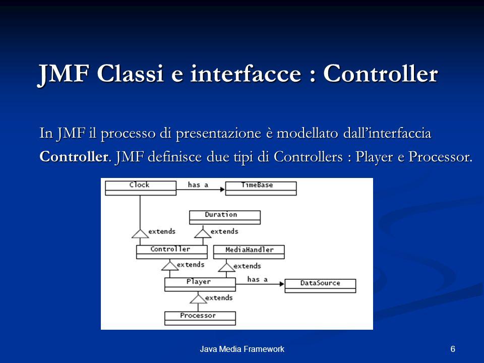 6Java Media Framework JMF Classi e interfacce : Controller In JMF il processo di presentazione è modellato dallinterfaccia Controller.