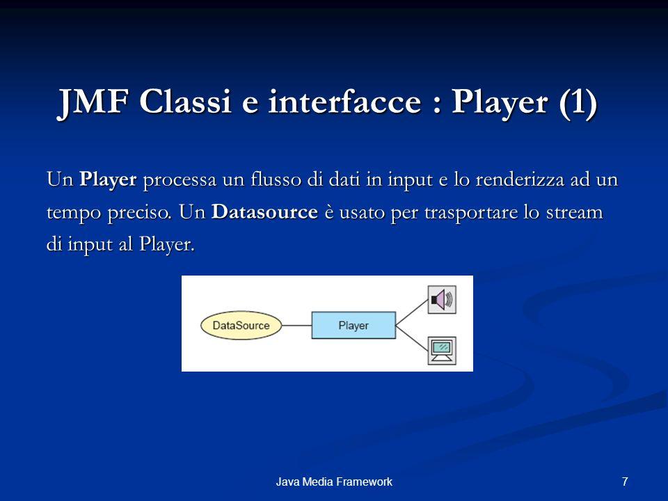 18Java Media Framework JMF Esempio : Durata e numero di frame del video (1) javax.media.control.FramePositioningControl: interfaccia per a controllare il posizionamento di un frame all interno di un video, per i Player e i Processor.