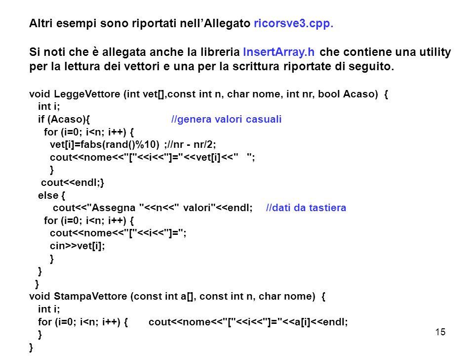 15 Altri esempi sono riportati nellAllegato ricorsve3.cpp.