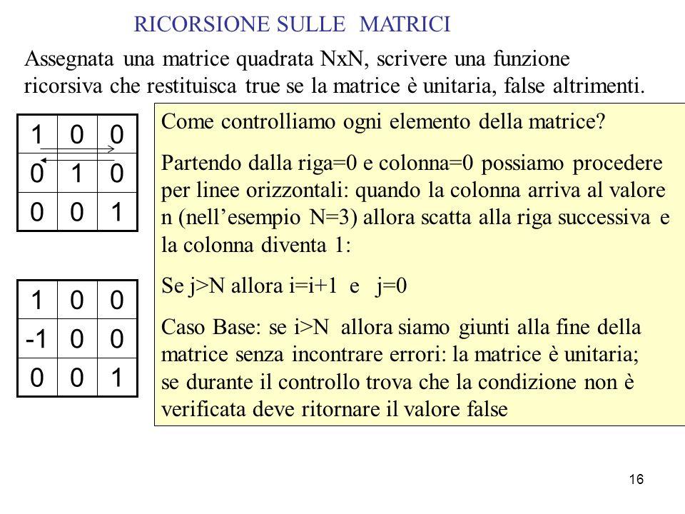 16 RICORSIONE SULLE MATRICI Come controlliamo ogni elemento della matrice.
