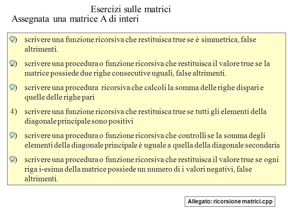 20 Esercizi sulle matrici 1)scrivere una funzione ricorsiva che restituisca true se è simmetrica, false altrimenti.