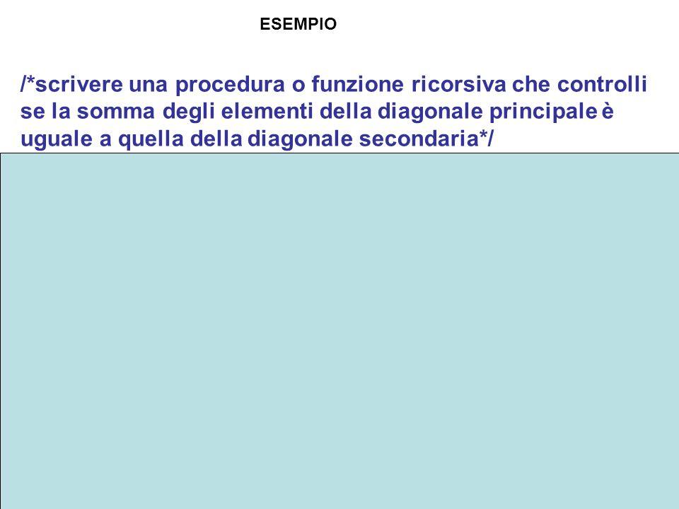 24 /*scrivere una procedura o funzione ricorsiva che controlli se la somma degli elementi della diagonale principale è uguale a quella della diagonale secondaria*/ bool sommaDiag(int a[][colmax], int i, int N, int &sommadP, int &sommadS) { if (i<0){ return (sommadP==sommadS);} else sommadP=sommadP+a[i][i]; sommadS=sommadS+a[i][N-1-i]; return sommaDiag(a,i-1,N,sommadP,sommadS); } ESEMPIO