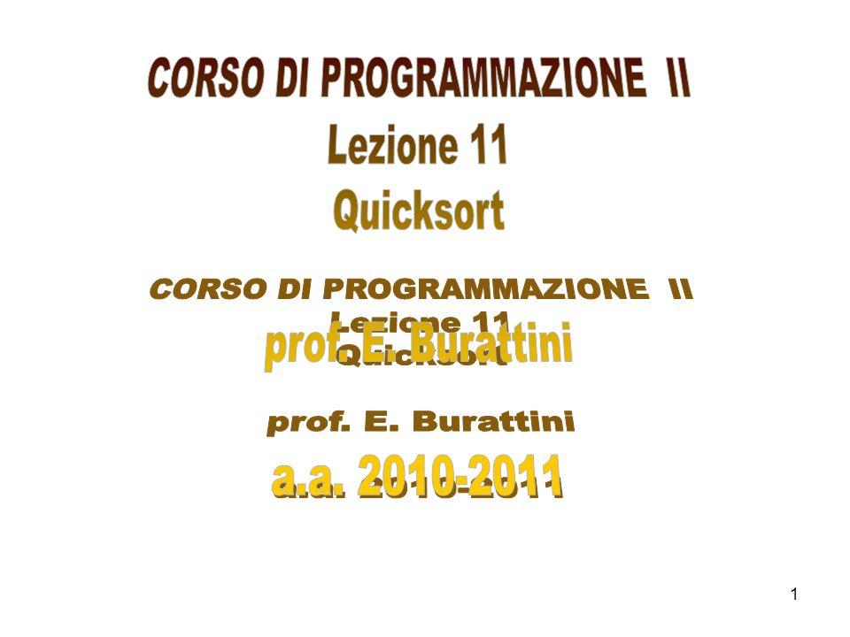 2 Quicksort è un algoritmo di ordinamento ricorsivo che si basa sul paradigma divide et impera come il merge sort.