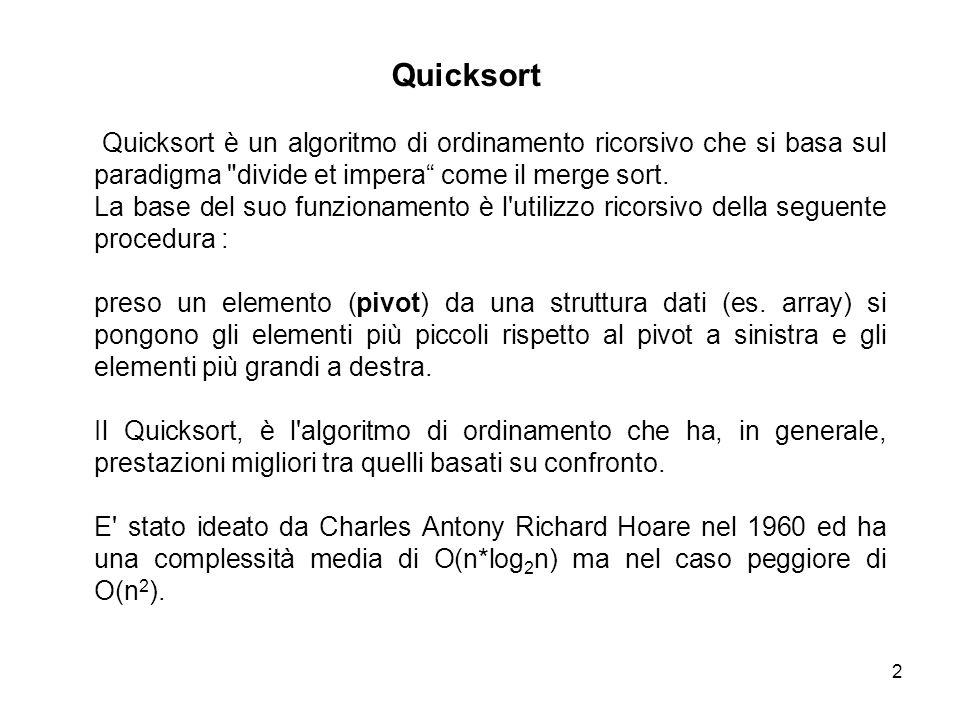 3 Nel quicksort la ricorsione viene fatta non dividendo il vettore in base agli indici ma in base al suo contenuto.
