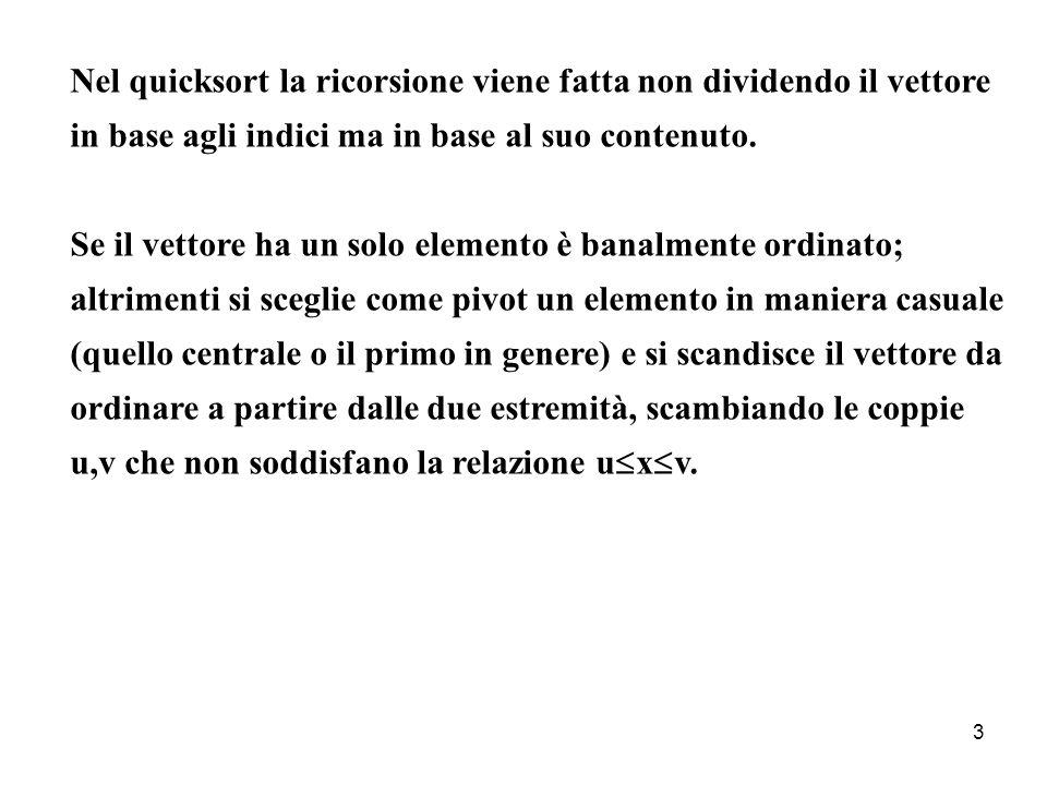 3 Nel quicksort la ricorsione viene fatta non dividendo il vettore in base agli indici ma in base al suo contenuto. Se il vettore ha un solo elemento