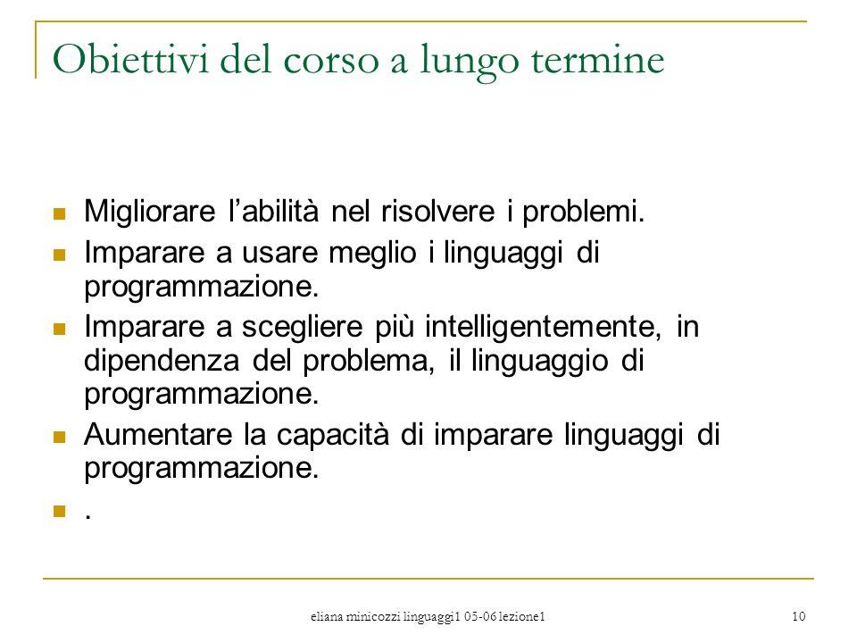 eliana minicozzi linguaggi1 05-06 lezione1 10 Obiettivi del corso a lungo termine Migliorare labilità nel risolvere i problemi. Imparare a usare megli