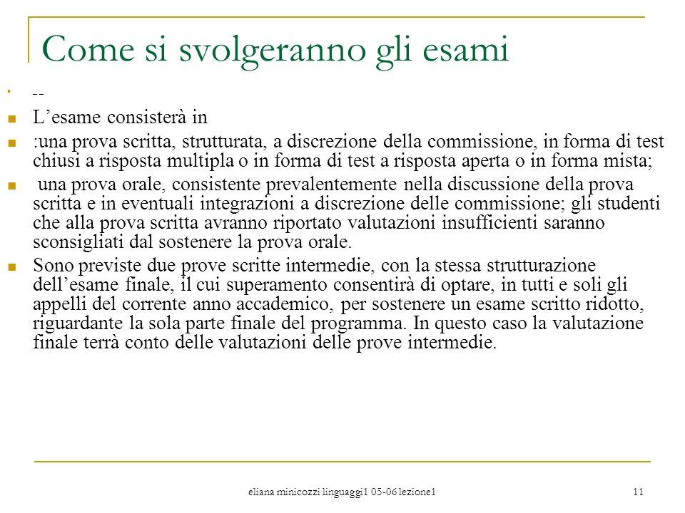 eliana minicozzi linguaggi1 05-06 lezione1 11 Come si svolgeranno gli esami _ _ Lesame consisterà in :una prova scritta, strutturata, a discrezione de