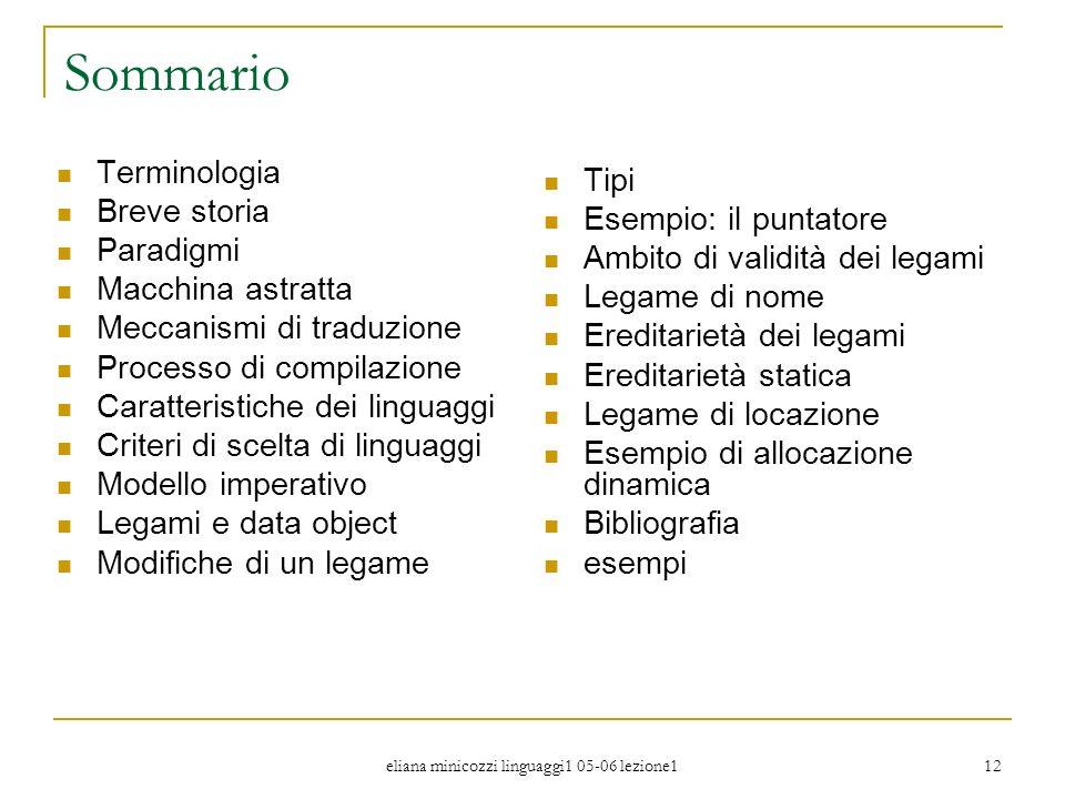 eliana minicozzi linguaggi1 05-06 lezione1 12 Sommario Terminologia Breve storia Paradigmi Macchina astratta Meccanismi di traduzione Processo di comp