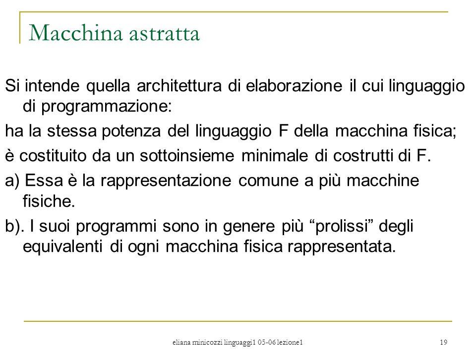 eliana minicozzi linguaggi1 05-06 lezione1 19 Macchina astratta Si intende quella architettura di elaborazione il cui linguaggio di programmazione: ha