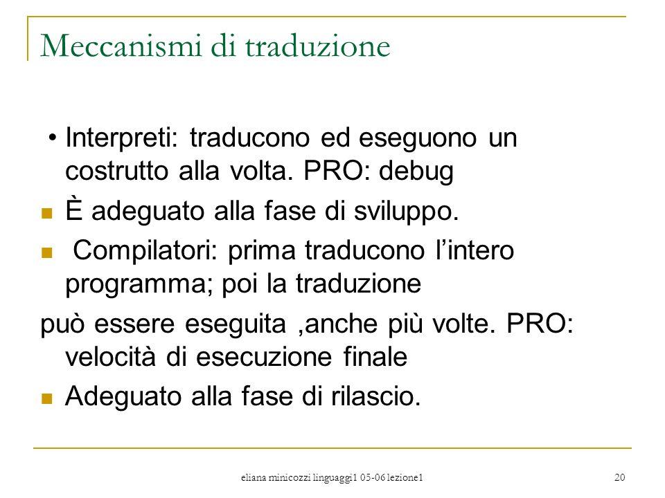 eliana minicozzi linguaggi1 05-06 lezione1 20 Meccanismi di traduzione Interpreti: traducono ed eseguono un costrutto alla volta. PRO: debug È adeguat