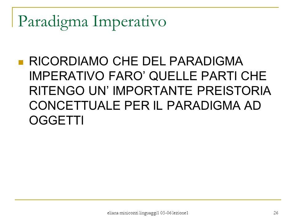 eliana minicozzi linguaggi1 05-06 lezione1 26 Paradigma Imperativo RICORDIAMO CHE DEL PARADIGMA IMPERATIVO FARO QUELLE PARTI CHE RITENGO UN IMPORTANTE